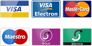 We accept all major debit and credit cards including Visa Mastercard Switch Solo Maestro and Electron